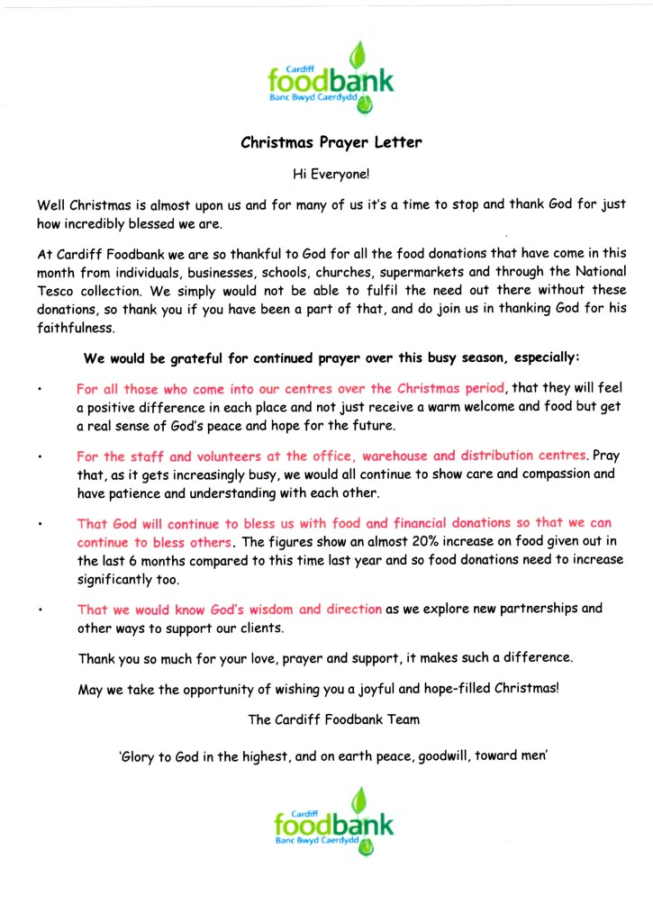 Cardiff Foodbank Christmas Prayer Letter
